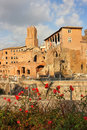 Ancient ruins on the Trajan forum, Rome, Italy Royalty Free Stock Photo