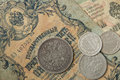 The ancient Russian, silver coins and old banknotes times of Nicolay2 Royalty Free Stock Photo