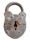 Ancient rusted old lock isolated over white Royalty Free Stock Photo