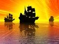 Ancient sail ships Royalty Free Stock Photo