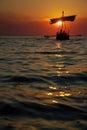 Ancient Sailboat at Sunset Royalty Free Stock Photo