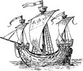 Ancient sailboat vector drawing of an old ship under sail Stock Photography