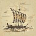 Ancient sailing ship at the oars
