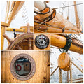 Ancient sailing vessel collage Stock Image
