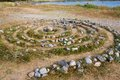 Ancient Sami stone labyrinth on Solovetsky Island Royalty Free Stock Photo