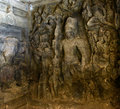 Ancient sculptures inside a elephanta caves in mumbai its unesco world heritage site Royalty Free Stock Photos