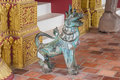 Ancient Singha Lion, Magic Animal in Buddhism Legend, Statue Aged Over 150 Years Royalty Free Stock Photo