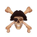 Ancient skull with two bones and black cap Stock Photos