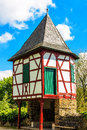 Ancient small customs tower on the banks of main river in hanau steinheim germany turrets rhine region Stock Photography