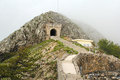 Ancient stairs and tunnel on the lovcen mountain in montenegro Royalty Free Stock Photography