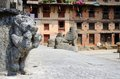 Ancient statues at khokana traditional newari village nepal eight kilometers south of kathmandu unesco heritage Stock Images