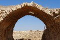 Ancient stone arch and wall of Kerak Castle in Jordan Royalty Free Stock Photo