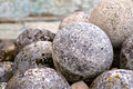 Ancient stone cannon balls Royalty Free Stock Photo