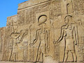 Ancient stone carved Egyptian hieroglyphics Royalty Free Stock Photos