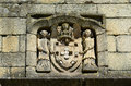 Ancient stone coat of arms of portugal on são francisco church guimarães historic centre guimarães is registered as Royalty Free Stock Photo