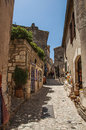 Ancient stone houses in alley, in the medieval hamlet of Baux-de-Provence. Royalty Free Stock Photo