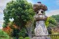 Ancient Stone Lanter at Toji Temple in Kyoto Royalty Free Stock Photo