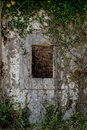 Ancient stone wall with window and old ivy climbing on it. Aband Royalty Free Stock Photo