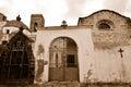 Ancient street fragment with church sardinia italy sepia Stock Photos