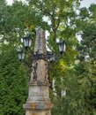 Ancient street lamp in the park. Banska Stiavnica, Slovakia