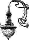 Ancient street lamp vector drawing of the antique light Stock Photos