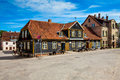 Ancient street in old town of Kuldiga, Latvia Royalty Free Stock Photo