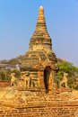 Ancient stupa in old bagan small made from bricks the field myanmar Royalty Free Stock Photography