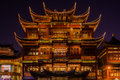 Ancient tea house fang bang zhong lu old city at night shanghai china april in the of in china on april th Stock Images