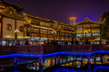 Ancient tea house fang bang zhong lu old city at night shanghai china april in the of in china on april th Stock Photo