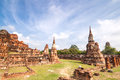 Ancient temple of ayutthaya wat mahathat thailand Royalty Free Stock Images