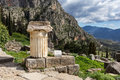 Ancient temple column delphi greece Stock Photos