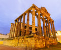 Ancient temple in dawn.  Merida Royalty Free Stock Photo