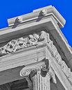 Ancient temple detail in black and white, blue sky Royalty Free Stock Photo