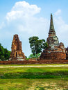 Ancient temple pagoda at ayutthaya historical park Royalty Free Stock Images