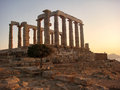The ancient temple of poseidon cape sounion attica athens greece Royalty Free Stock Photos