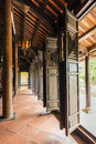 Ancient temple wooden doors in the complex of king minh mang grave a imperial city hue Royalty Free Stock Photos
