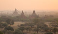 Ancient temples at sunrise in bagan myanmar view from shwesandaw pagoda Stock Photography