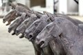 Ancient terra cotta horse year old sculptures on display in xian china Stock Images