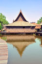 Ancient thai wooden houses style above the pond floating village Royalty Free Stock Photo