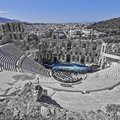 Ancient theatre under acropolis of athens greece greek in b w and blue Stock Images