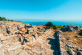 Ancient Thera historic site on Santorini Greece Royalty Free Stock Photo