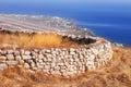 Ancient Thera ruins overlooking Santorini airport Royalty Free Stock Photo