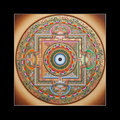 Ancient tibetan tangka Ohm mandala Royalty Free Stock Photography