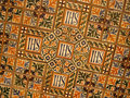 Ancient tiles with handmade decorations in rome italy Royalty Free Stock Photo