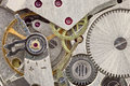 Ancient tiny clockwork close up background Royalty Free Stock Image