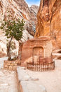 Ancient tomb in canyon Siq,  Petra Royalty Free Stock Images