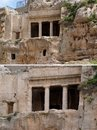 Ancient tomb cave of Benei Hezir in Jerusalem Stock Photos