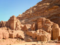Ancient Tombs in the rocks and caves of Nabataean, Petra, Jordan Royalty Free Stock Photo