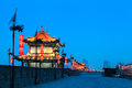Ancient tower city wall xian night china Stock Image