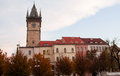 Ancient tower with clock in a prague general view Stock Photography
